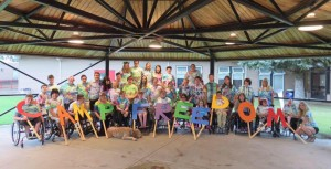 Camp group shot with letters